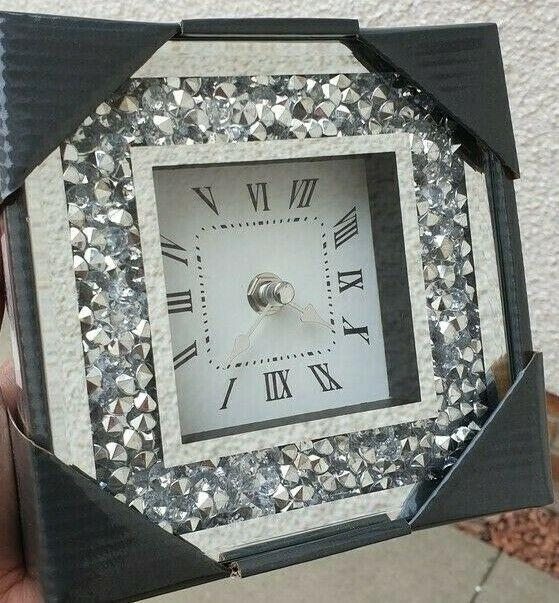 Mirror Crushed Diamond Silver Crushed Crystal Filled Small 15x15cm Wall Clock