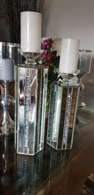 Mirrored And Crushed Crystal Candle Holders Small And Large