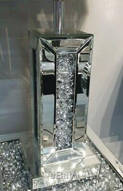 Mirrored Crushed Crystal Diamond Diamante Small Table Lamp with Shade