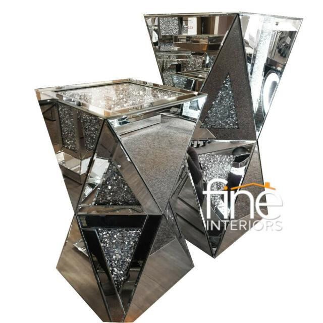 Mirrored Crushed Crystal Diamond Pedestal Free Delivery Available
