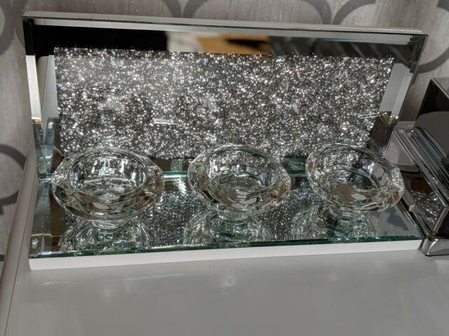 Mirrored Crushed Diamond Crystal Candle Holder