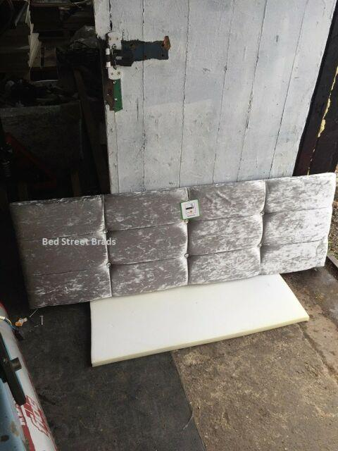 New 4ft Small Double Diamonte Crystal Silver Crushed Velvet Divan Bed Headboard