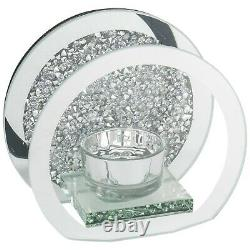 NEW Crushed Diamond / Crystal Effect Round Mirror Glass Tealight Candle Holder