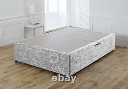 New Crushed Velvet Divan Bed Base Under Storage Drawers Small Double King