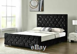 New Double Crushed Velvet Fabric Chesterfield Sleigh bed frame all sizes colours