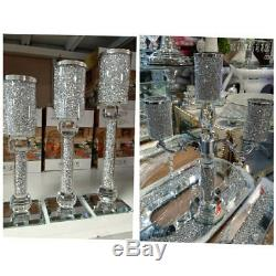 New Mirror Crushed Crystal Diamond Filling Crystal 3 Tier 5 Tier Candle Holder