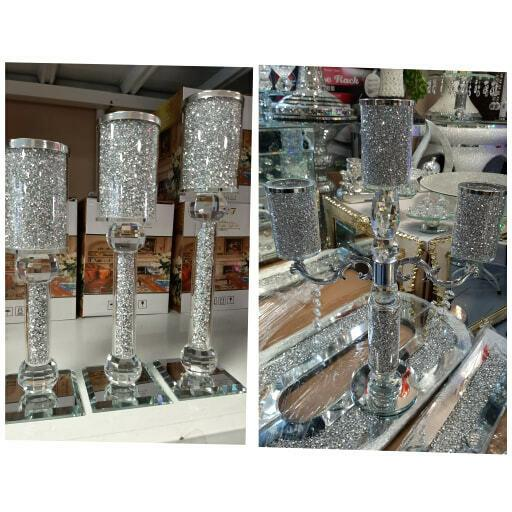 New Mirror Crushed Diamond Filling Crystal Candle Holder