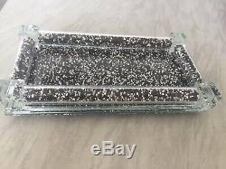 New Small Balck Silver Crushed Crystal Diamond Tray For Salt And Pepper Shakers