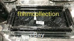 New Small Black Crushed Crystal Diamond Tray & Salt And Pepper Shakers Gift Set