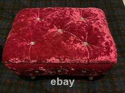 Ottoman / Small Stool Red Crushed Velvet With Crystal Studs