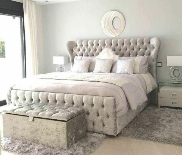 Oxford Crushed Velvet Wingback Sleigh Bed Handcrafted Quality