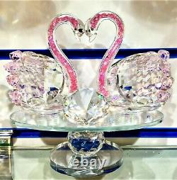 Pink Crushed Crystals Swan Romany Bling Mirrored Home Decor, Gift