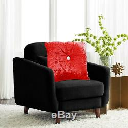 Plain Luxury Crushed Velvet Cushions Cover Small Large Sofa Bed Filled Cushion