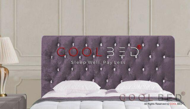 Purple Crushed Velvet Chesterfield Crystal Diamante Buttons Headboard