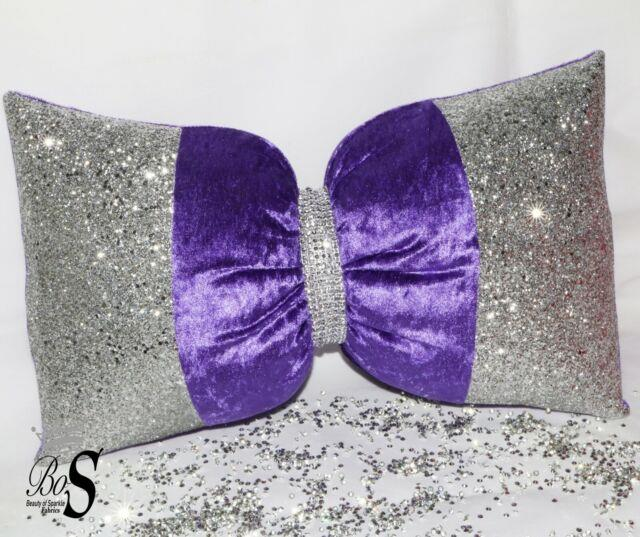 Purple Crushed Velvet, Silver Glitter Bow, Small Cushion