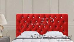 Red Crushed Velvet Chesterfield Crystal Diamante Buttons Headboard