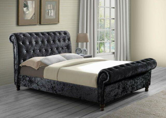 Remarkable Crushed Velvet Fabric Swan Sleigh Bed All Sizes In Stock