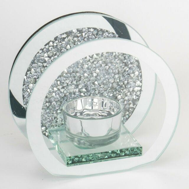 Round Crushed Crystal Tealight Holder Modern Bling Sparkle Candle Décor Gift New