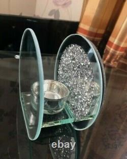 Round Glass Crushed Diamond Crystal Effect Tealight Candle Holder