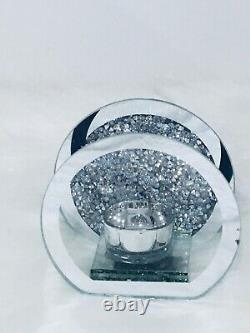 Round Silver Crushed Crystal T/ Light Candle Holder Home decoration Accessory