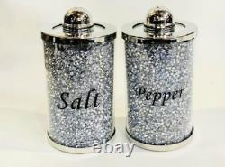 Salt And Pepper Shakers Silver Crushed Diamond Crystal Filled Kitchen BLING