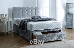 Shimmering Crushed Velvet Divan Bed Base Drawers Storage Small Double King
