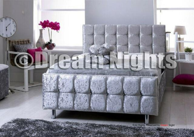 Silver 4ft 4ft6 5ft And 6ft Cube Sleigh Crushed Velvet Bed