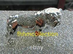 Silver Crushed Crystal Diamond Dog Ornament Shelf Sitter Mantle Piece NEW