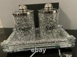 Silver Crushed Diamante Fill Salt And Pepper Pots Containers Shaker & Bling Tray
