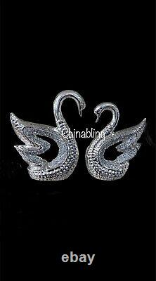 Silver Crushed Diamond Crystal Swans Pair Ornament Home Decor Gift Box Diamante