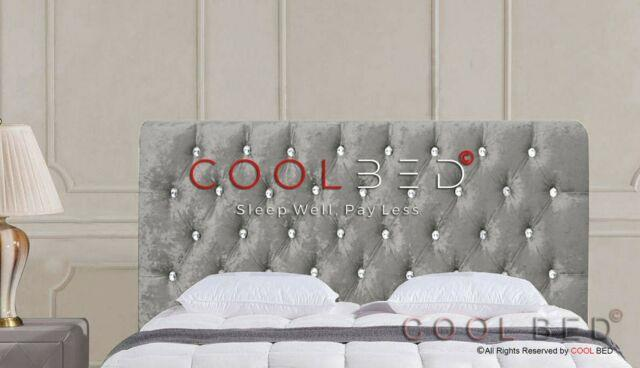 Silver Crushed Velvet Chesterfield Crystal Diamante Buttons Headboard