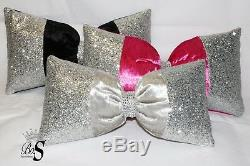 Silver Crushed Velvet, Silver Glitter Bow, Small Cushion