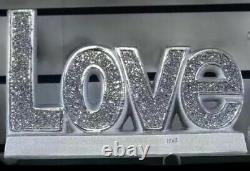 Silver Crystal Crushed Diamond LOVE SIGN Shelf Sitter Home Decor Gift Sparkle