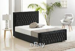 Silver Diamante Bed Frame. Crushed Velvet Luxury Bed Single, Double, King Size
