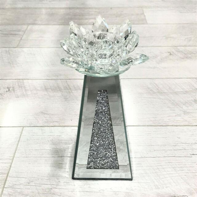 Small Bling Lotus Crushed Diamond Mirror Tealight Candle Holder Crystal Stand