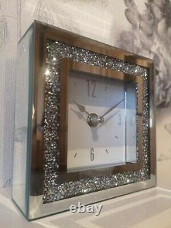 Small Crushed Crystal Silver Mantel Square Clock Mirror /Glass
