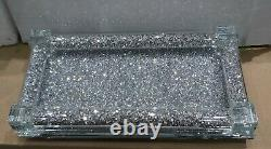 Small Silver Crushed Crystal sparkly Tray For Salt And Pepper Shakers