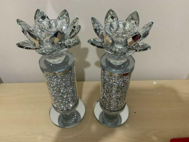 Small Thick Crushed Diamond Set Of 2 Crystal Lotus Glass Tealight Candle Holder
