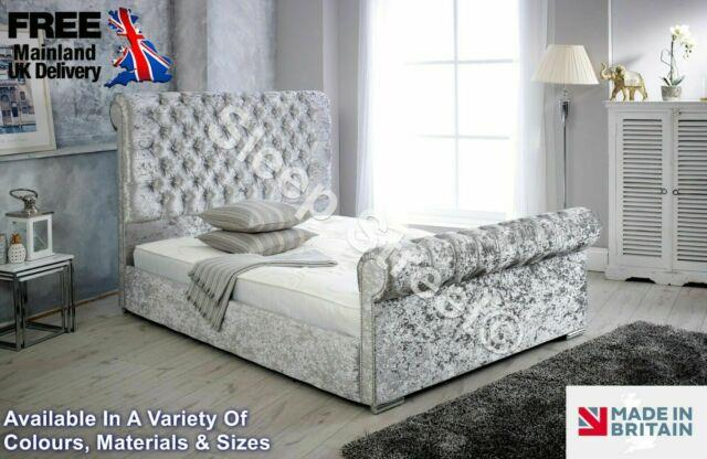 Soft Crushed Velvet Sleigh Bed Single Double King + Mattress Free P&p