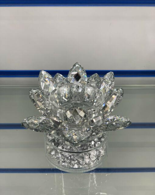 Sparkly Crushed Diamond Candle Holder Faceted Lotus Decorative Silver Crystal