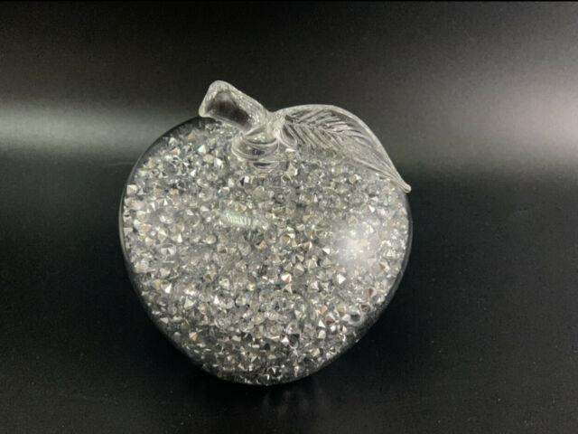 Sparkly Crushed Diamond Crystal Rhinestone Filled Apple Bling Decor Ornament