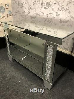 Sparkly Silver Crushed Crystals Diamonds Small Tv Unit Cabinet