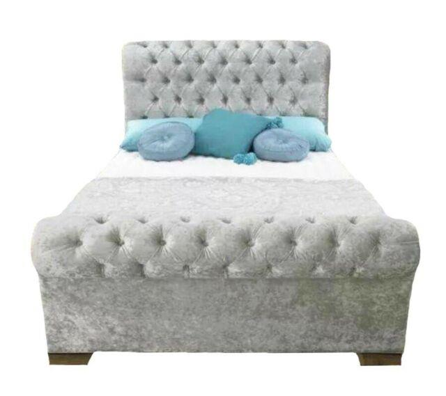 Stylish Crushed Velvet Sleigh Bed, Chesterfield Bed, Upholstery Bed In All Sizes
