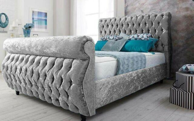 Stylish Royal Swan Sleigh Bed Crushed Velvet Bed Sizes Avalible In All Colours