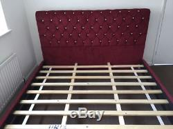 Stylish Swan Bed Chesterfield Bed Crushed Velvet Bed Frame Chenille Bed