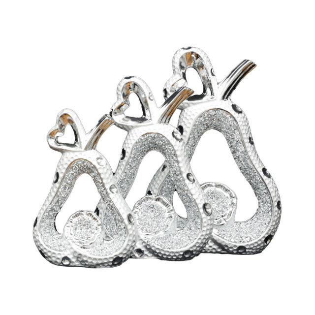 Xl Set Of 3 Silver Guava Sparkle Bling Ornament Crushed Diamond, Home Decor